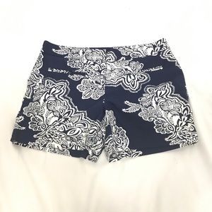 Willi Smith Blue White Printed Flat Front Shorts